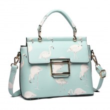 LT1814 GN -Miss Lulu Flamingo Printed Crossbody Handbag Green
