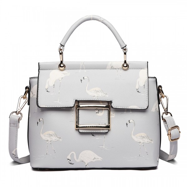 LT1814 GY -Miss Lulu Flamingo Printed Crossbody Handbag Grey