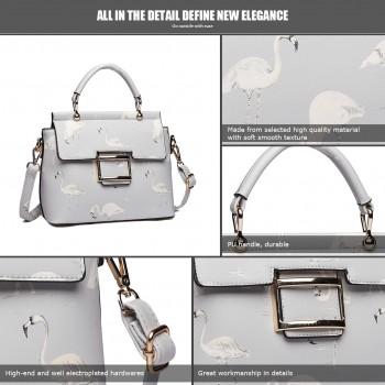LT1814 GY -Miss Lulu Flamingo Printed Crossbody Handbag Grey