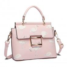 LT1814 PK - Miss Lulu Handtasche Damen Henkeltasche mit Flamingo Drucken Pink