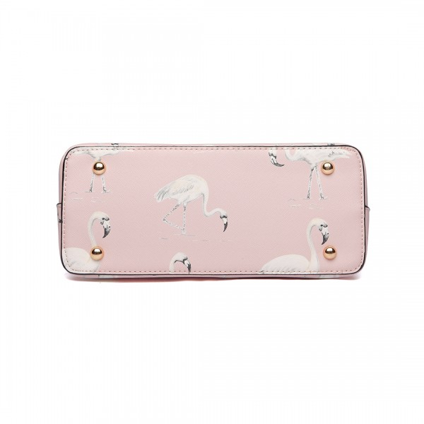 LT1814 PK - Miss Lulu Flamingo Printed Crossbody Handbag Pink