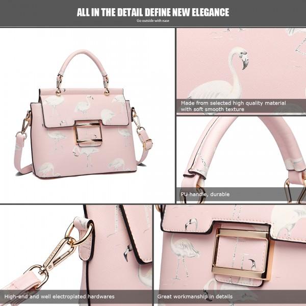 LT1814 PK - Miss Lulu Flamingo Printed Crossbody Handbag Pink