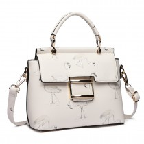 LT1814 WE -Miss Lulu Flamingo Printed Crossfiy Handbag White