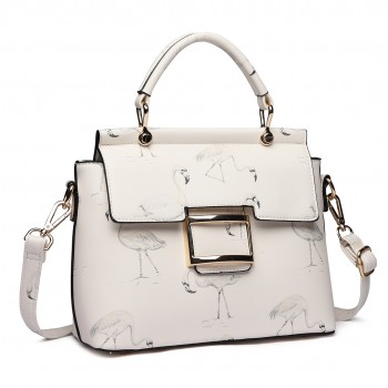 LT1814 WE -Miss Lulu Flamingo Printed Crossbody Handbag White