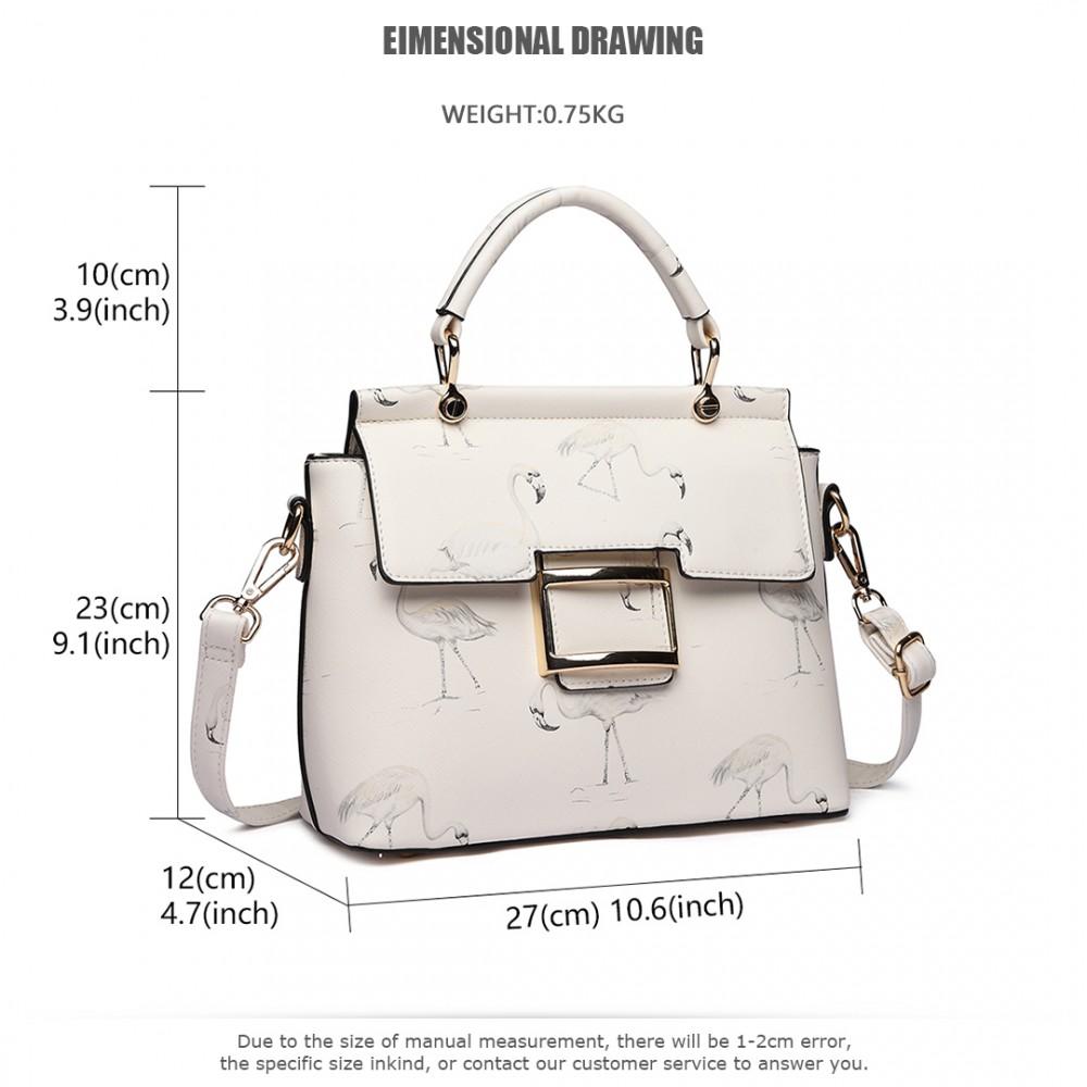 d49f6a5ec9 LT1814 WE -Miss Lulu Mesdames filles impression sac à main belle sac à  bandoulière blanc