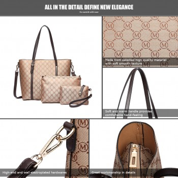 LT1815-18M-BN Miss Lulu 3pcs Set Tote Shoulder Bag And Clutch Brown