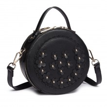 LT1818-Miss Lulu Round Zip Small Crossbody Bags Black