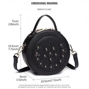 LT1818-Miss Lulu Round Zip Small Crossbody Bags Black