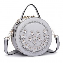 LT1818-D-ra Lulu Round Zip Small Crossby Bags Grey