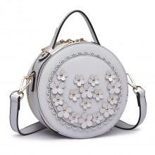 LT1818-Miss Lulu Round Zip Small Crossbody Bags Grey