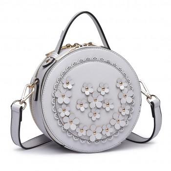 LT1818-Miss Lulu Round Zip Small Crossbody Bags Grey