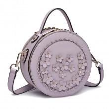 LT1818-Miss Lulu femmes PU sac à bandoulière en cuir sac à main cylindrique violet