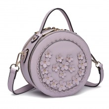 LT1818-Miss Lulu Round Zip Small Crossbody Bags Purple
