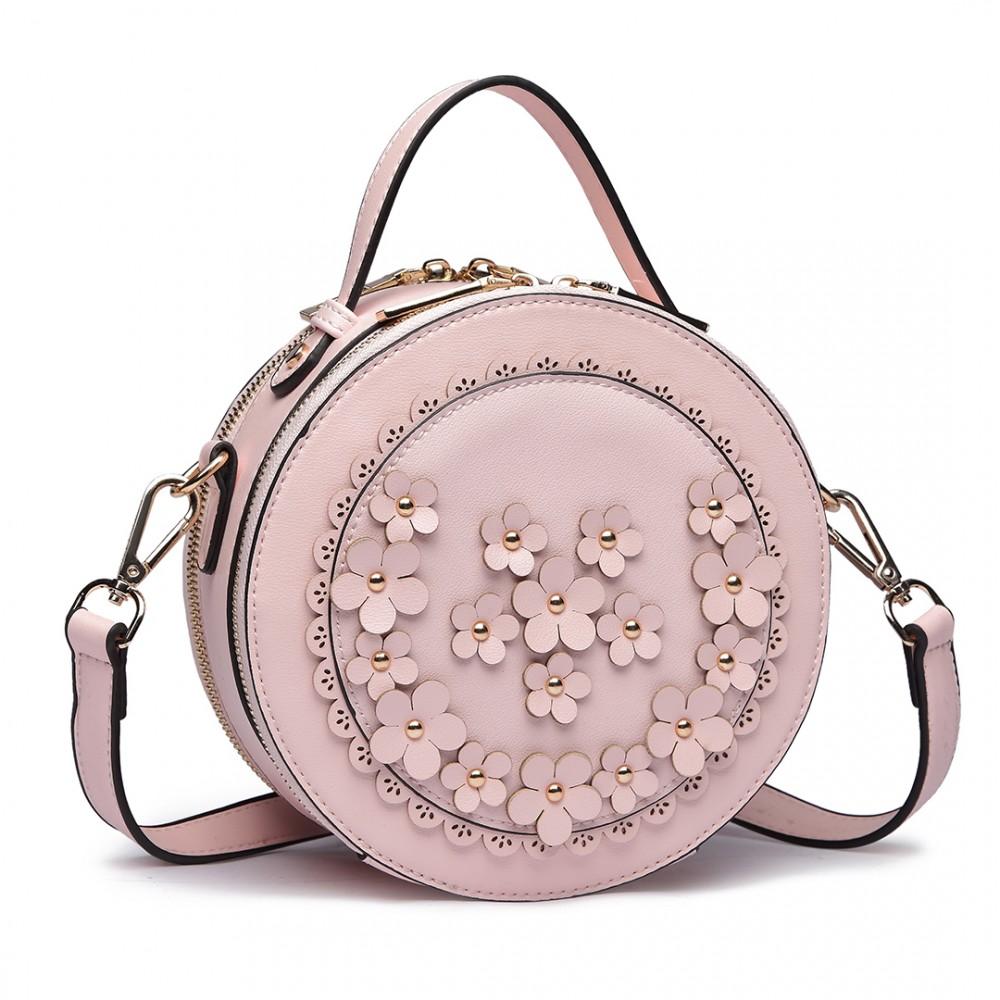 LT1818-Miss Lulu femmes PU sac à bandoulière en cuir sac à main cylindrique  rose b221030897f3