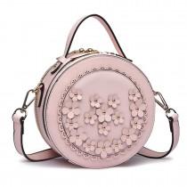 LT1818-Miss Lulu Round Zip Small Crossbody Bags Pink