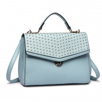 LT1819-Miss Lulu PU Leather Stud Detail Shoulder Handbag  Blue
