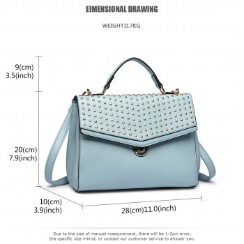 LT1819-MISS LULU PU LEATHER STUDDED SHOULDER HANDBAG BLUE