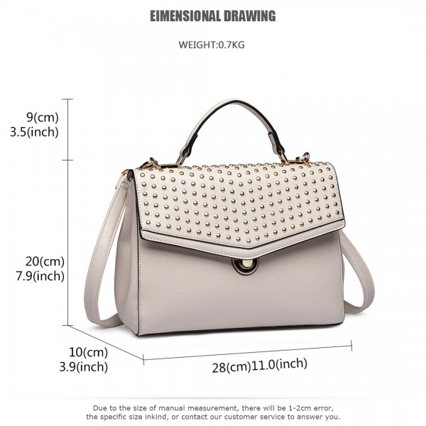 LT1819-MISS LULU PU LEATHER STUDDED SHOULDER HANDBAG BEIGE