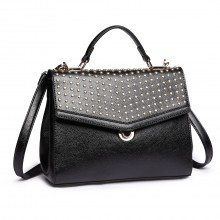 LT1819-MISS LULU PU LEATHER STUDDED SHOULDER HANDBAG BLACK