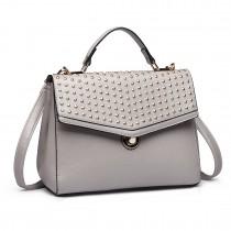 LT1819-Miss Lulu PU Leather Stud Detail Shoulder Handbag Grey