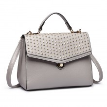 LT1819-MISS LULU PU LEATHER STUDDED SHOULDER HANDBAG GREY