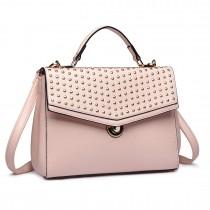 LT1819-Miss Lulu PU Leather Stud Detail Shoulder Handbag Nude