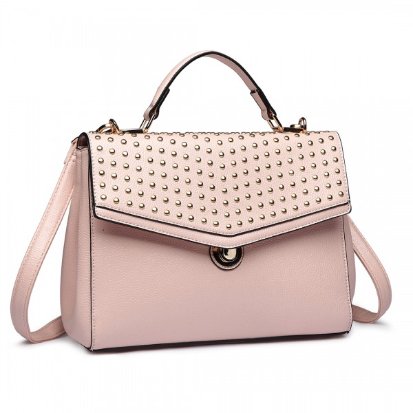 LT1819-MISS LULU PU LEATHER STUDDED SHOULDER HANDBAG NUDE