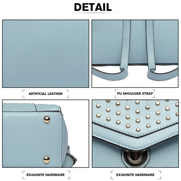 LT1820-MISS LULU PU LEATHER STUDDED FASHION BACKPACK BLUE