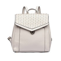 LT1820-MISS LULU PU LEATHER STUDDED FASHION BACKPACK BEIGE