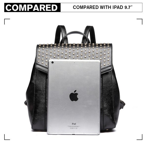 LT1820-MISS LULU PU LEATHER STUDDED FASHION BACKPACK BLACK