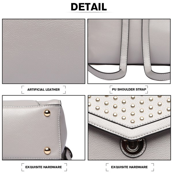 LT1820-MISS LULU PU LEATHER STUDDED FASHION BACKPACK GREY