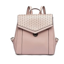 LT1820 - MISS LULU LEATHER LOOK STUDDED FASHION BACKPACK - NUDE