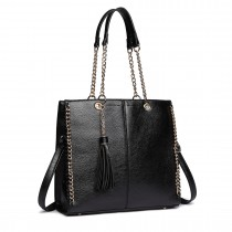 LT1821 BK -Miss Lulu Faux Leather Tassel Chain Tote Handbags Black