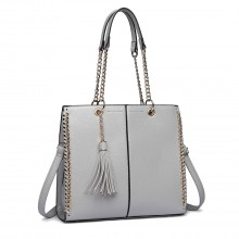 LT1821 GY -Miss Lulu Faux Leather Tassel Chain Tote Handbags Grey