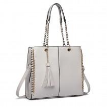 LT1821 WE -Miss Lulu Faux Leather Tassel Chain Tote Handbags White