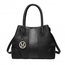 LT1822 - MISS LULU STRUCTURED PANELLED SHOULDER BAG - BLACK