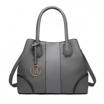 LT1822 - MISS LULU STRUCTURED PANELLED SHOULDER BAG - GREY