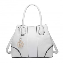 LT1822 - MISS LULU STRUCTURED PANELLED SHOULDER BAG - WHITE