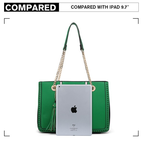LT1859-MISS LULU PU LEATHER TASSEL CHAIN TOTE HANDBAG GREEN