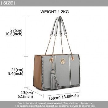 LT1859-MISS LULU PU LEATHER TASSEL CHAIN TOTE HANDBAG GREY
