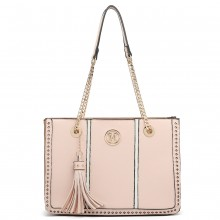 LT1859-MISS LULU PU LEATHER TASSEL CHAIN TOTE HANDBAG NUDE