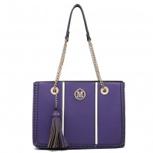 LT1859-MISS LULU PU LEATHER TASSEL CHAIN TOTE HANDBAG PURPLE