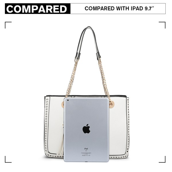 LT1859-MISS LULU PU LEATHER TASSEL CHAIN TOTE HANDBAG WHITE