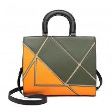 LT1860-MISS LULU LEATHER LOOK COLOR BLOCK HANDBAG SHOULDER BAG GREEN/ORANGE