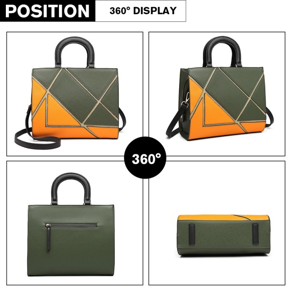 LT1860-MISS LULU LEATHER LOOK COLOR BLOCK HANDBAG SHOULDER BAG GREEN/ORANGE