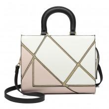 LT1860-MISS LULU LEATHER LOOK COLOR BLOCK HANDBAG SHOULDER BAG WHITE/NUDE