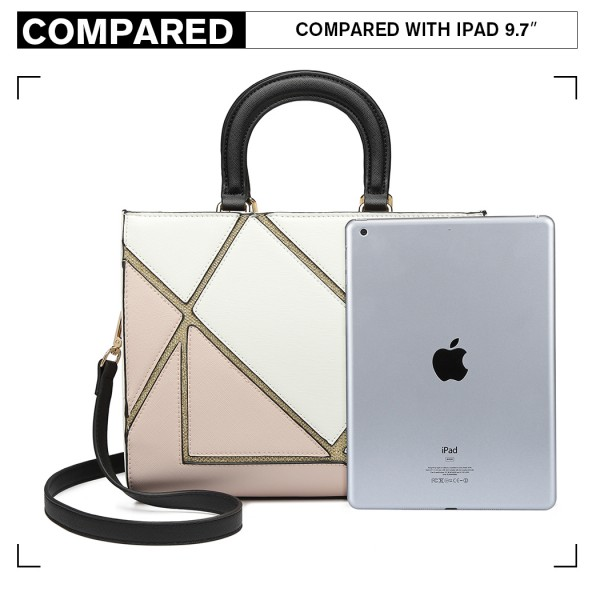 LT1860-MISS LULU LEATHER LOOK COLOR BLOCK HANDBAG SHOULDER BAG WHITE/NUDE
