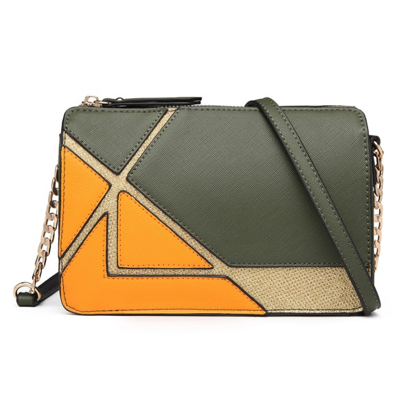 LT1861-MISS LULU LEATHER LOOK COLOR BLOCK CHAIN SHOULDER BAG GREEN/ORANGE
