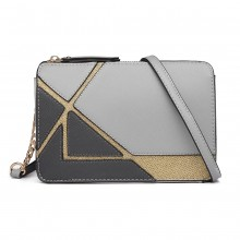 LT1861-MISS LULU LEATHER LOOK COLOR BLOCK CHAIN SHOULDER BAG GREY