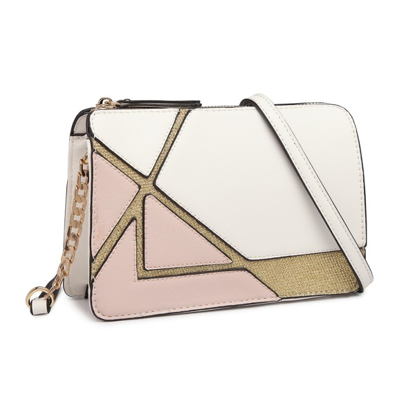 LT1861-MISS LULU LEATHER LOOK COLOR BLOCK CHAIN SHOULDER BAG WHITE/NUDE